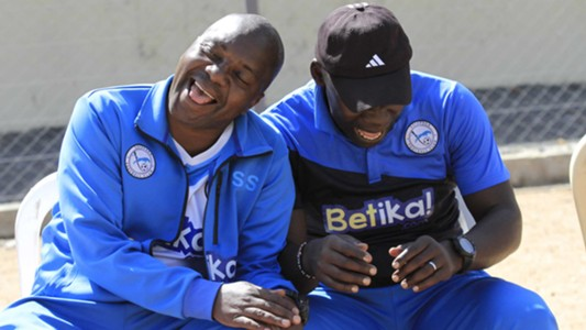 Sofapaka coach Sam Ssimbwa and John Baraza.