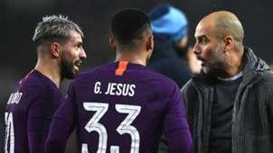 Sergio Aguero Gabriel Jesus Pep Guardiola Manchester City Swansea 160319