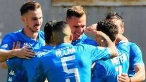 Napoli celebrating goal against Roma