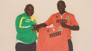 Jactone Obure and David Okello of Mathare United.