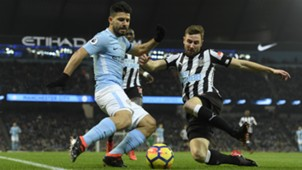 SERGIO AGUERO MANCHESTER CITY PAUL DUMMETT NEWCASTLE UNITED PREMIER LEAGUE 20012018