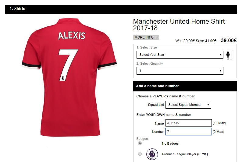 Alexis 7 Manchester United Shop