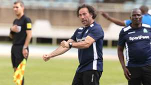 Gor Mahia coach Hassan Oktay celebrate against Lobi Stars of Nigeria.