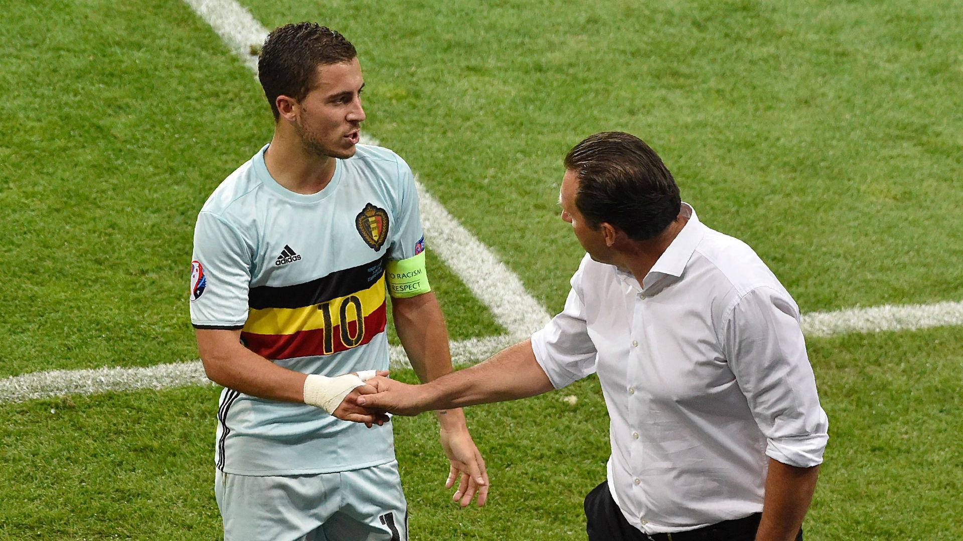 Eden Hazard & Marc Wilmots Euro 2016 Belgium v Hungary