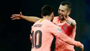 Lionel Messi Jordi Alba Barcelona La Liga 08122018