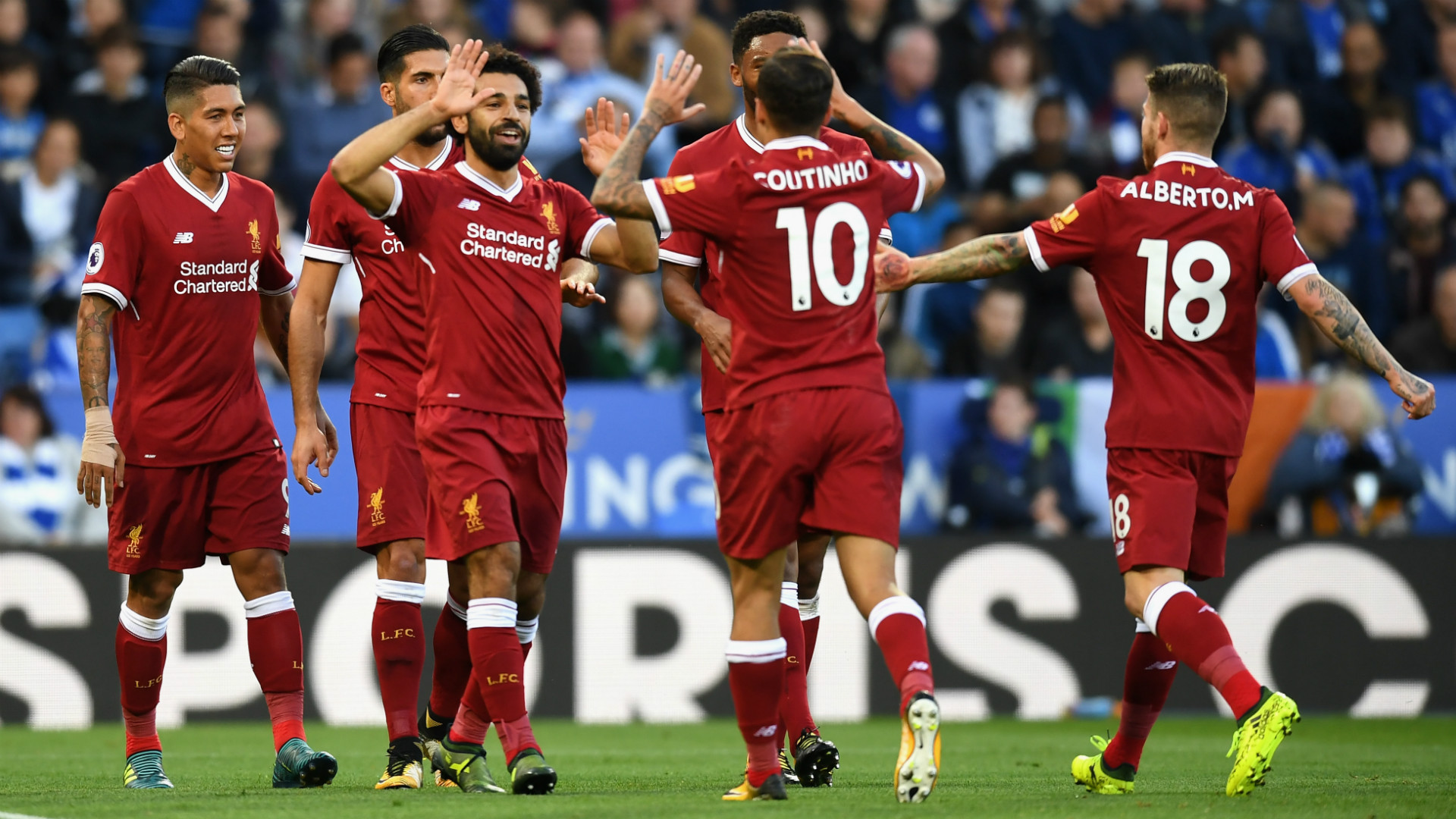 HD Salah Coutinho Liverpool celebrate
