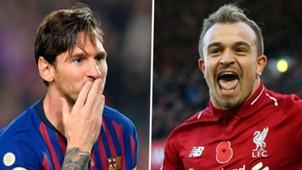 Lionel Messi Xherdan Shaqiri Barcelona Liverpool 2018