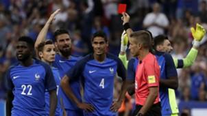 Raphael Varane France England red card