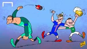 Cartoon: Cristiano Ronaldo throwing the mic