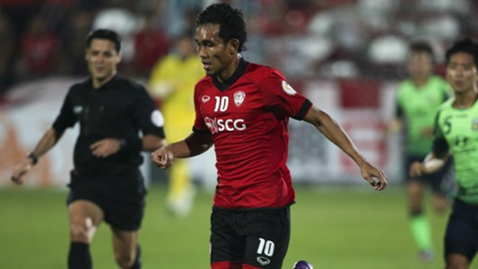 Teerasil Dangda Muangthong United v Jeonbuk Motors AFC Champions League 26022013