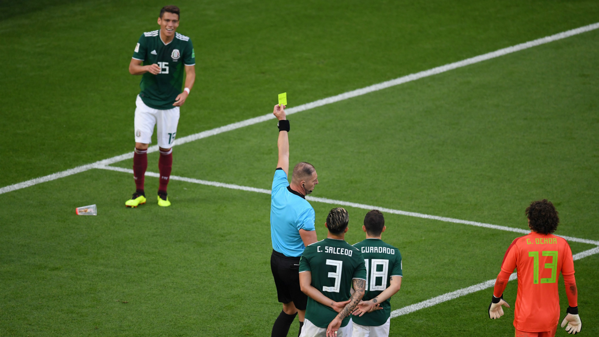 Hector Moreno Mexico Referee Nestor Pitana
