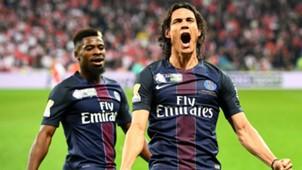 Edinson Cavani Serge Aurier PSG Monaco Coupe de la Ligue 01042017