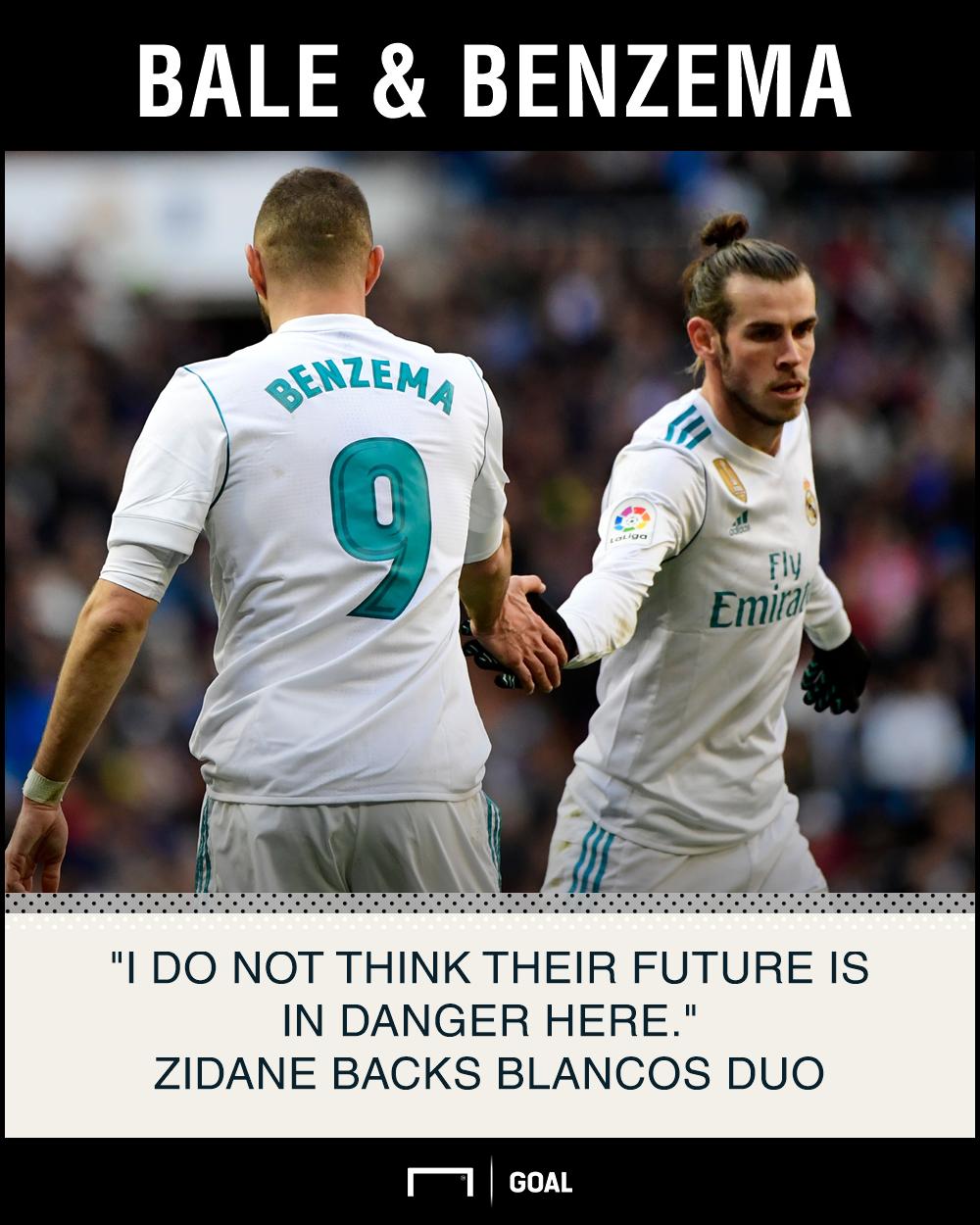 Gareth Bale Karim Benzema not in danger Zinedine Zidane