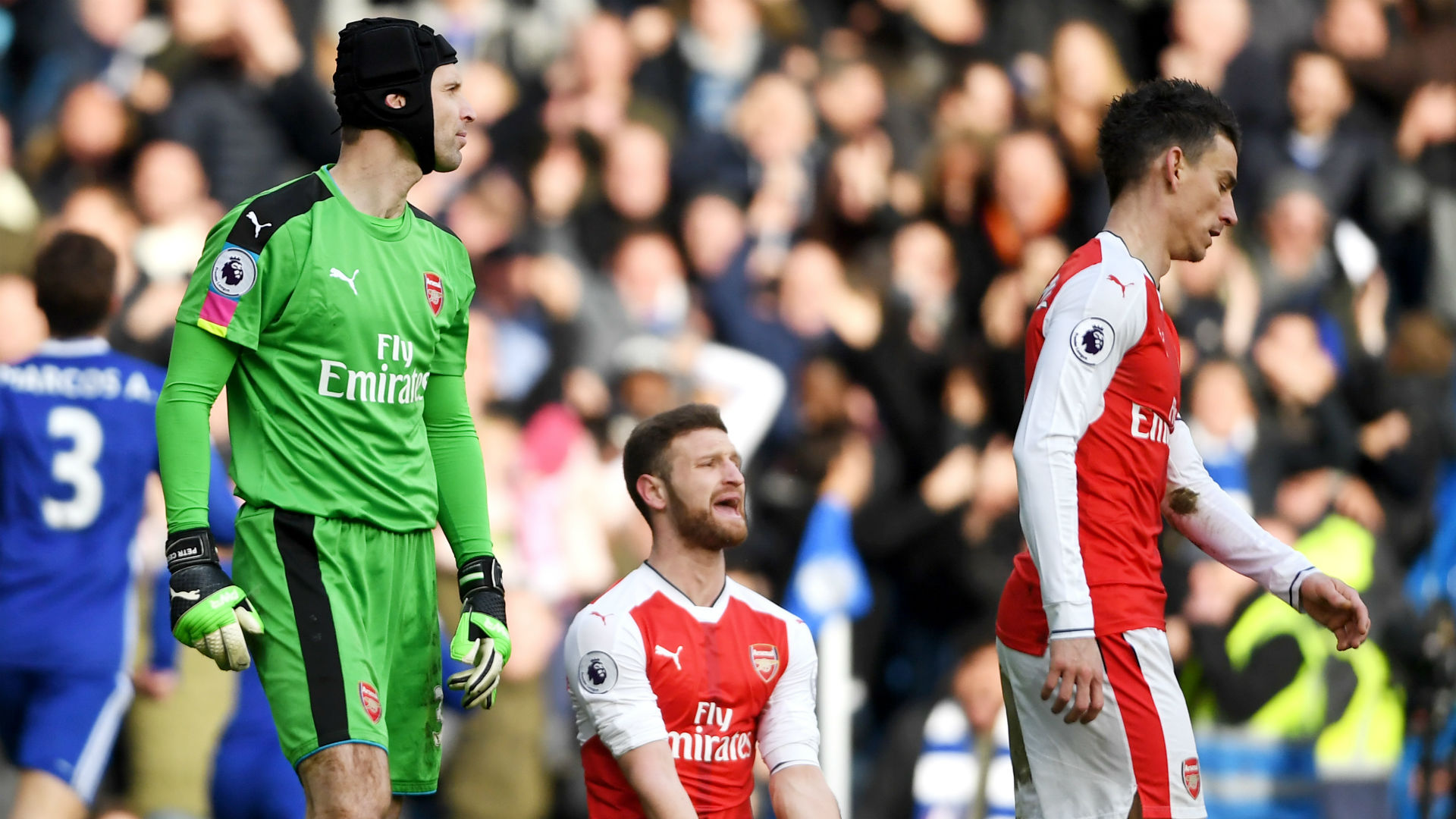 Arsenal Chelsea Cech Mustafi Koscielny