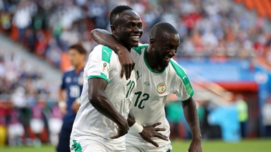 Sadio Mane of Senegal celebrates with teammate Youssouf Sabaly World Cup 2018