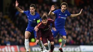 Cesc Fabregas Cesar Azpilicueta Lionel Messi Chelsea Barcelona Champions League