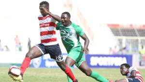 AFC Leopards midfielder Duncan Otieno and Ernest Wendo of Gor Mahia