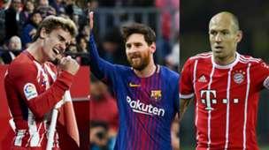 Collage Griezmann, Messi, Robben