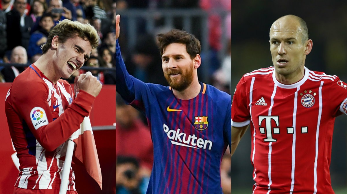 Collage Griezmann, Messi, Robben