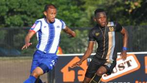Nazeer Allie of Maritzburg United challenges Strydom Wambi of Royal Eagles, May 2019