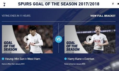 (토트넘이 '이번 시즌 최고의 골' 투표를 시작한 가운데 손흥민의 두 골장면이 후보에 올랐다.)