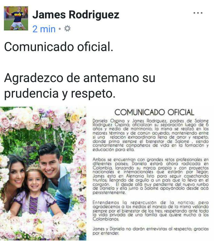 James Rodriguez Comunicado Separacion