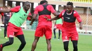 Aboud Omar of Harambee Stars in training.