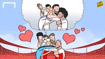 Cartoon Ozil misses Real Madrid