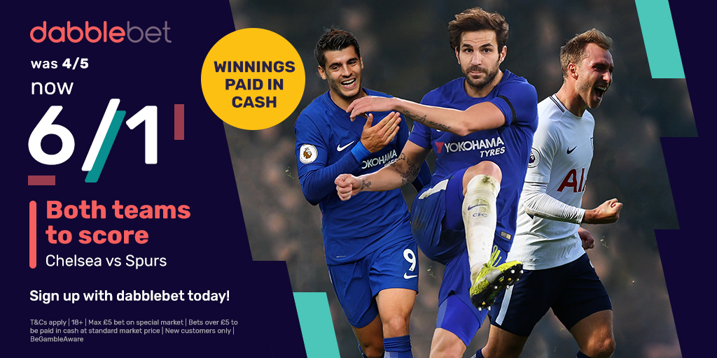 dabblebet enhanced new customer offer 6/1 BTTS Chelsea v Tottenham