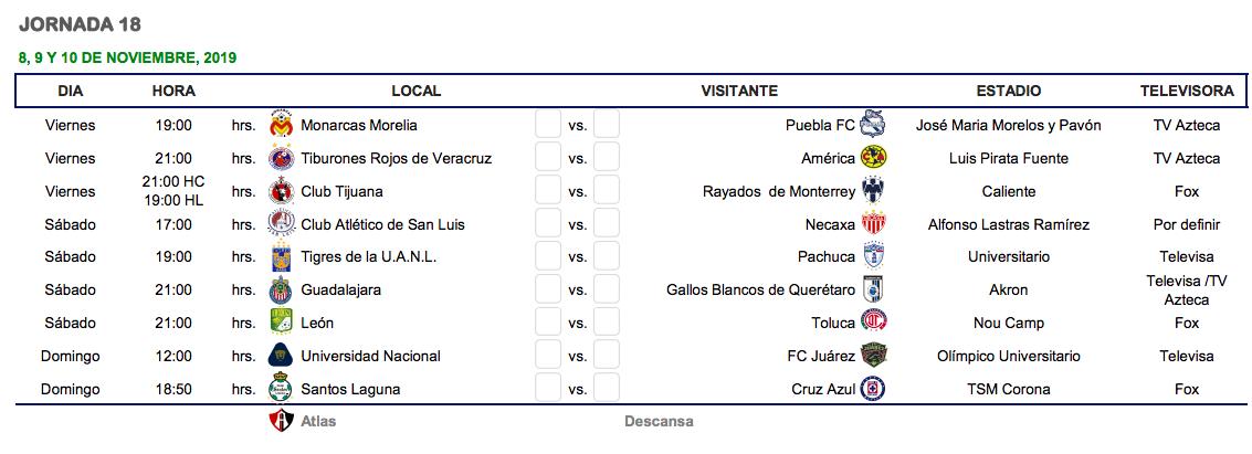 Calendario La Liga 2019.Cual Es El Calendario Del Apertura 2019 De La Liga Mx Goal Com