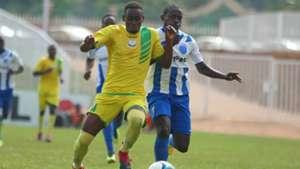Sakari Daniel of Kakamega Homeboyz v Brian Marita of AFC Leopards.