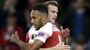 Pierre-Emerick Aubameyang Rob Holding Arsenal