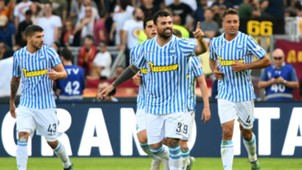Andrea Petagna celebrating Roma SPAL
