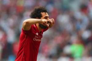 Salah comemora gol do Liverpool ao abrir o placar contra o Tottenham na final