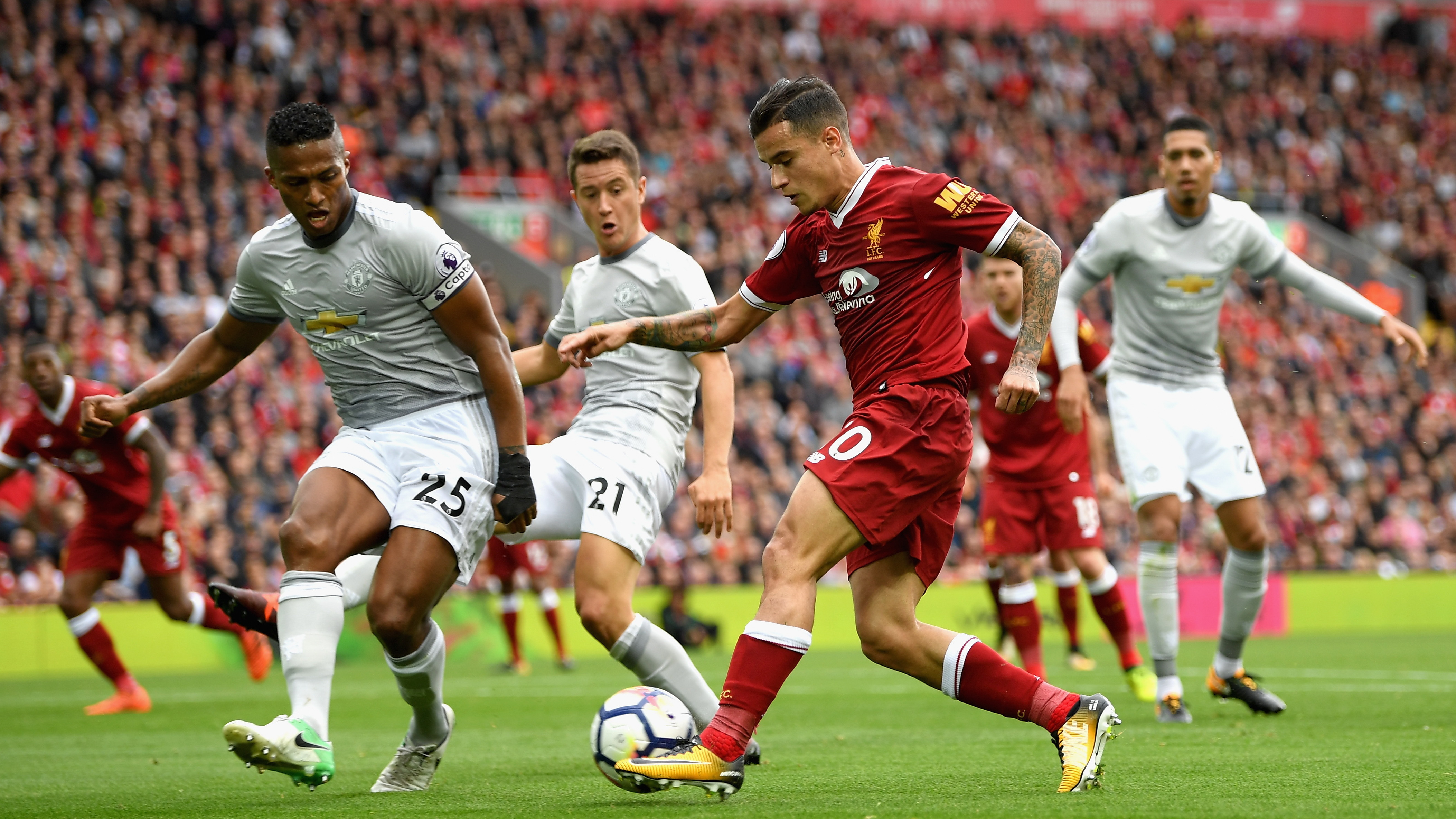 Philippe Coutinho Antonio Valencia Liverpool Manchester United Premier League