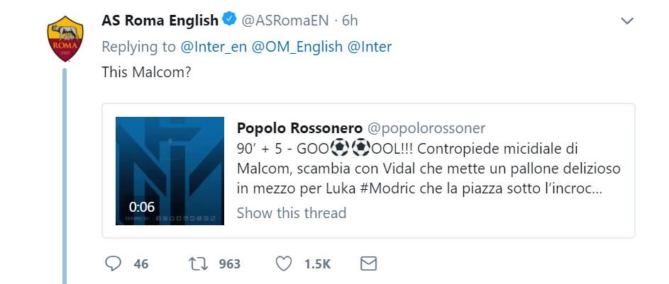 AS Roma and Inter trolling each other