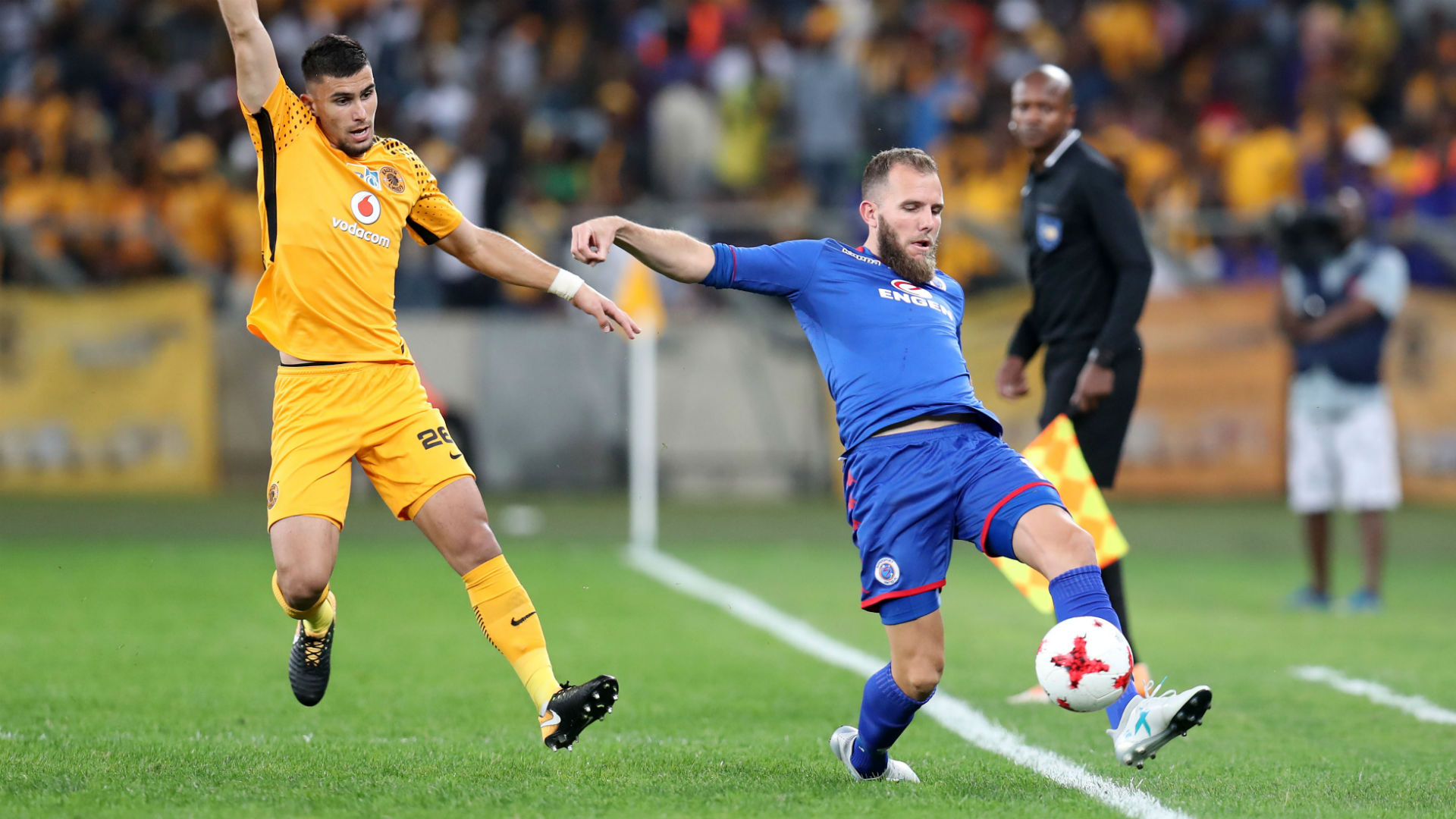 Lorenzo Gordinho and Jeremy Brockie - Kaizer Chiefs v SuperSport United