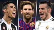 Cristiano Ronaldo Lionel Messi Gareth Bale 2018-19