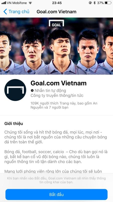 Chat bot Goal.com Vietnam