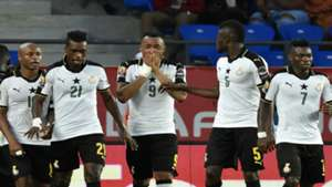Jordan Ayew and Ghana teammates against Congo Afcon 2017