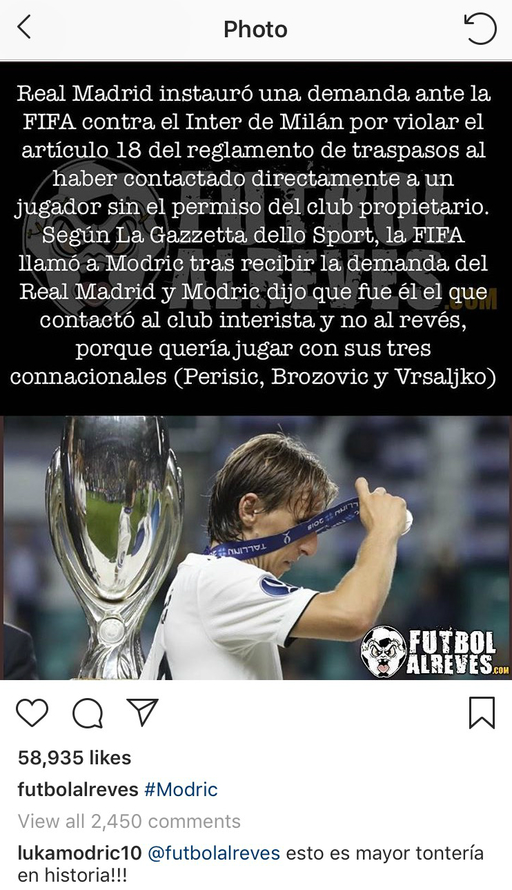 Luka Modric Instagram Post