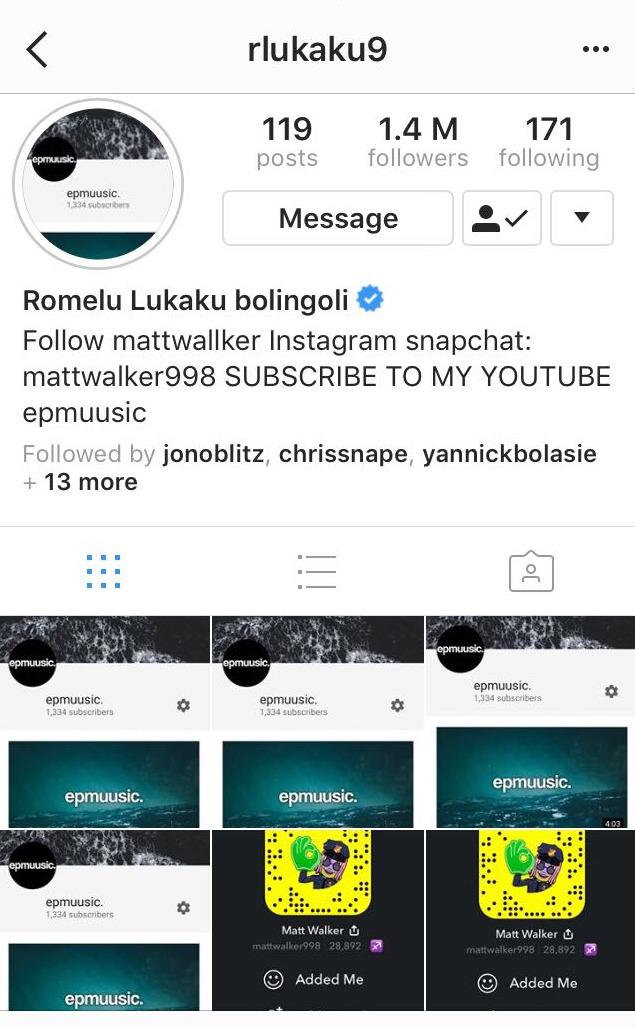 Romelu Lukaku Instagram Page Hack