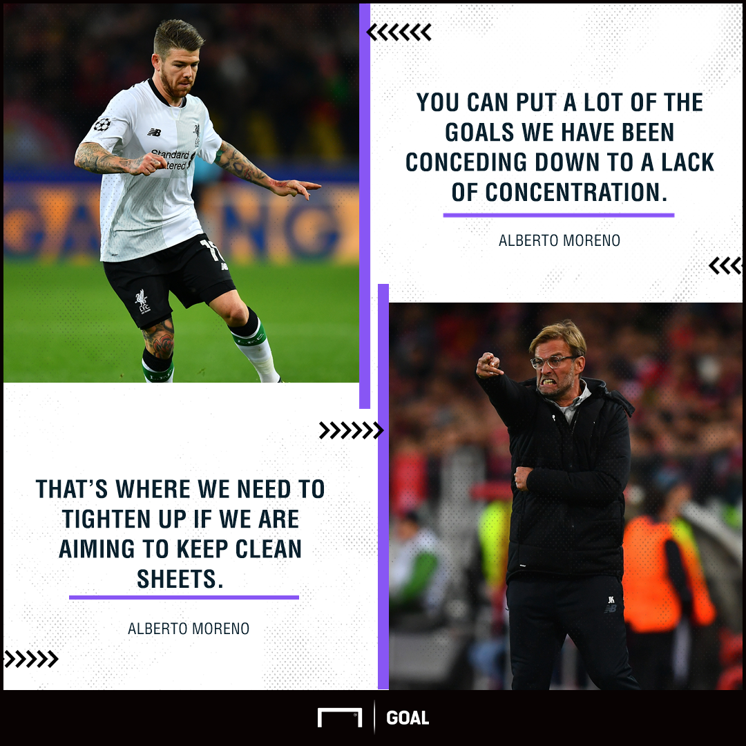 Alberto Moreno Liverpool concentration clean sheets