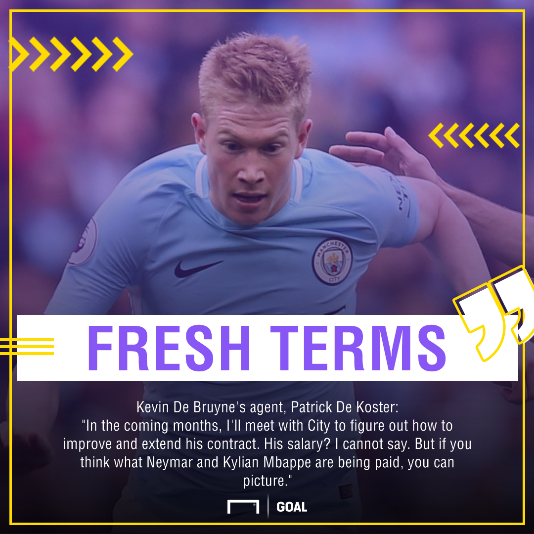 Kevin De Bruyne Manchester City agent contract Neymar Mbappe
