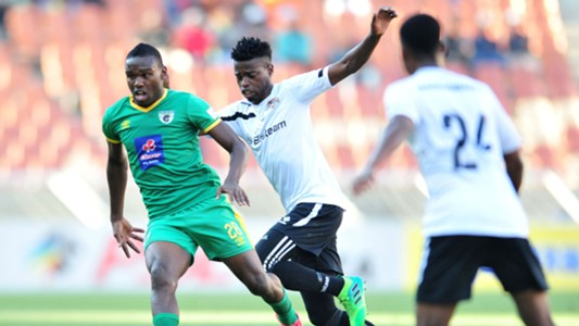 Phathutshedzo Nange of Black Leopards challenged by Victor Letsoalo of Baroka FC