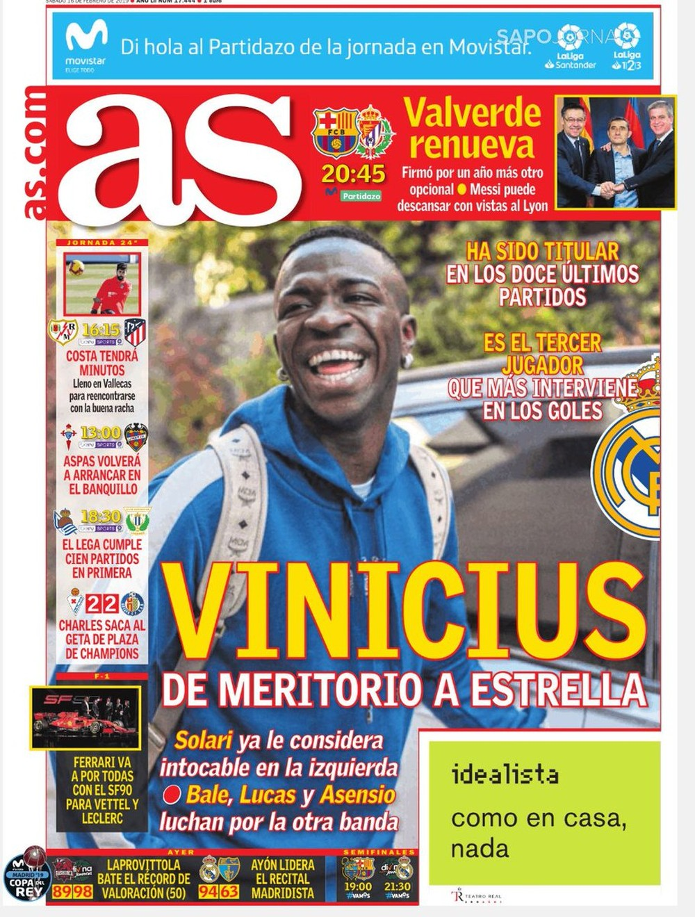Vinicius Junior Real Madrid capa AS 160219