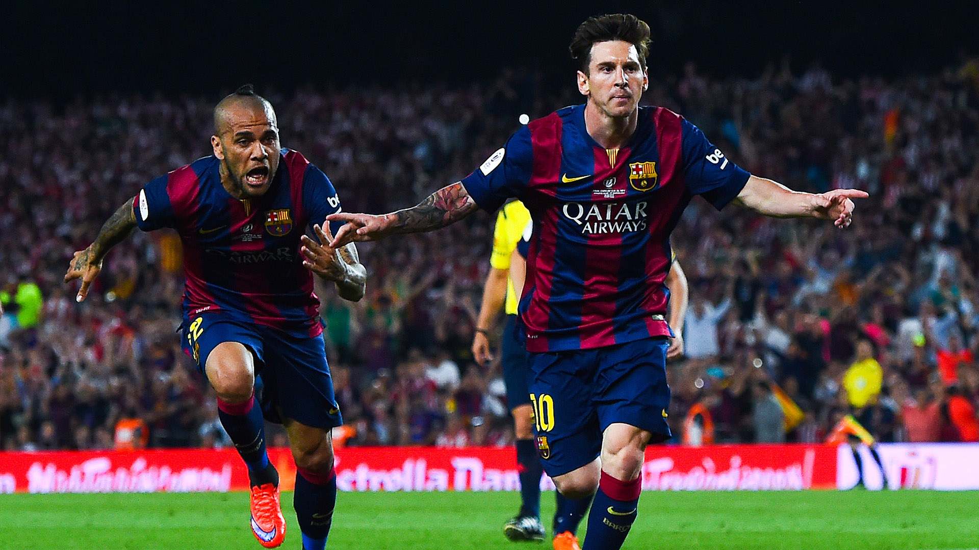 Messi celebrates opening the scoring against Bilbao
