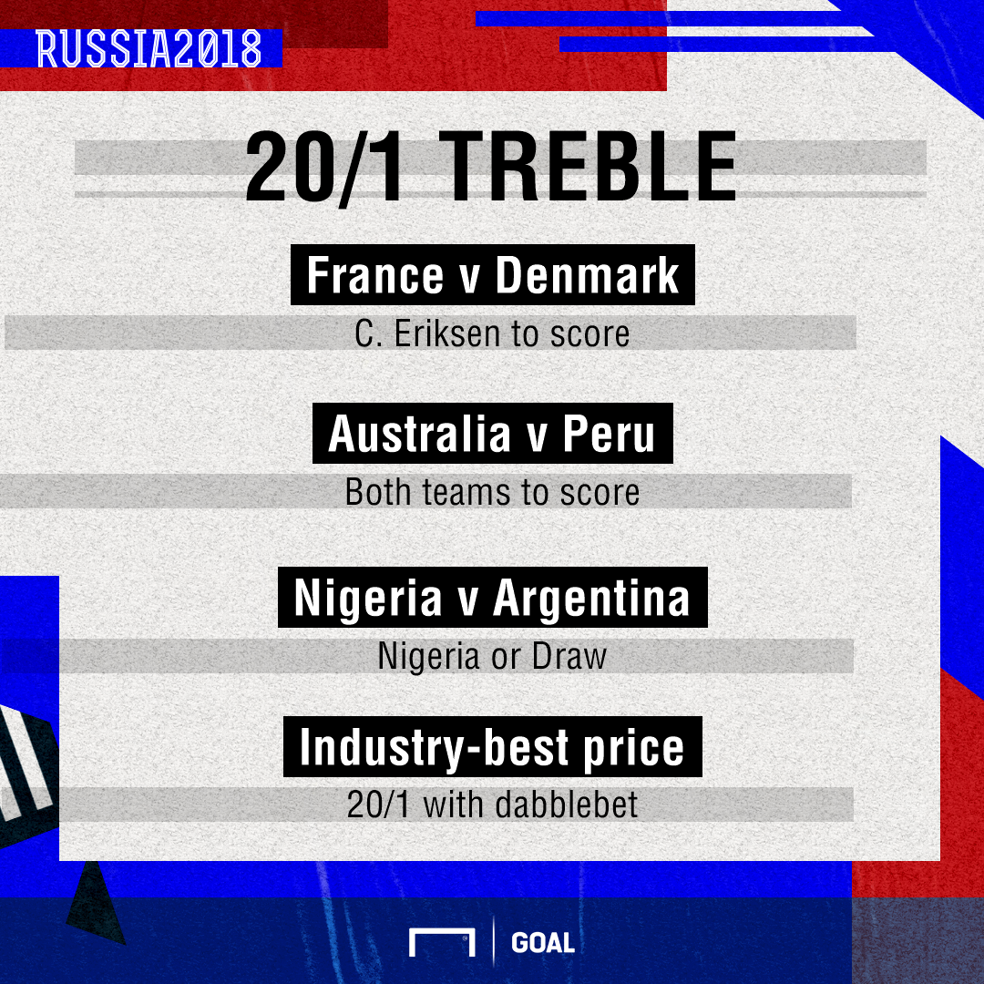 dabble of the day - enhanced World Cup treble 26th June
