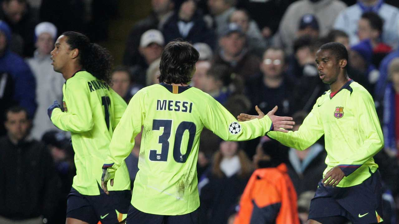 Ronaldinho, Lionel Messi and Samuel Eto'o