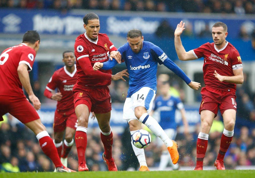 Cenk Tosun Virgil Van Dijk Jordan Henderson Everton Liverpool 04/07/18